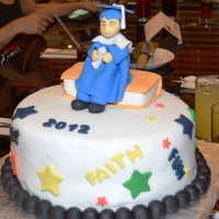 Elementary Graduation my Son's graduation cake, vanilla cake with dulce de leche filling, covered in rolled fondant. Topper is sugar paste.