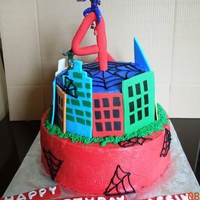 The Amazing Spiderman Spiderman cake, vanilla and chocolate cakes with pudding filling, buttercream covered.
