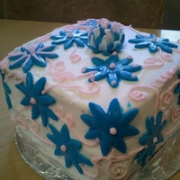 "Baby Cake 6"" Square Butter Cream Frosting Cake covered with Blue flowers with Pink Swirls"
