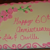 60Th Anniversary Cake 1/2 sheet Marble with buttercream icing and RI roses and buds