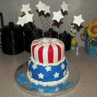 Flag Cake   Red, white and blue layer vanilla cake with buttercream icing covered with MMF