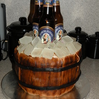 Beer Birthday Cake   Marble layer cake with buttercream icing covered in MMF with sugar ice cubes.