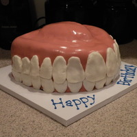 Denture Cake  I made this cake for my boss's birthday, who is a dentist. Banana cake with layers of cream cheese icing and chocolate ganashe,...