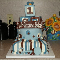 Baby Shower   Chocolate and marble cake with buttercream covered in MMF. Baby blocks are RCT covered in MMF