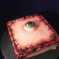 "Who Is The Box This years Halloween cake Who is the Box ""Stitched Flesh"" This cake was inspired by a box I saw on Etsy this year. Vanilla cake..."