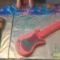 Huge Hand Carved Guitar Cake  And Microphone