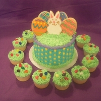 Easter Basket With Cookies easter basket cake with sugar cookies on top with cupcakes on the side