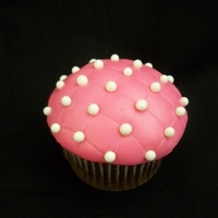 Pretty In Pink Cupcake chocolate cupcake chocolate buttercream, pink MMF and white candy balls