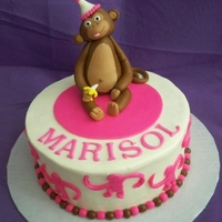 Monkey Cake  Strawberry cake with cream cheese icing. fondant/gumpaste monkey, fondant monkeys and balls on the side. Thanks for the inspiration sugar...