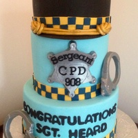 Top Hat Is Made Of Cake And Carved To Resemble Sergeant Hat For The Chicago Police Dept Badge And Cuffs Are Made Of Fondant And Painted Wit... Top hat is made of cake and carved to resemble sergeant hat for the Chicago police dept. Badge and cuffs are made of fondant and painted...
