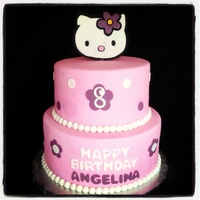 Hello Kitty Cake Hello kitty birthday cake with a fondant topper. For more pictures of our cakes, visit our website: www.simplysweetonline.com