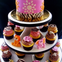Safari Cake & Cupcakes Pink and brown safari baby shower cake and cupcakes.
