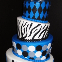 Whimsical Birthday Cake Whimsical topsy turvy birthday cake has a blue and black color scheme. Topper is made of swarovski crystals and adds an elegant bling!