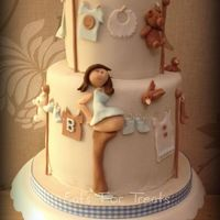 Baby's Wash Day Baby Shower Cake Based on a Debbie Brown design but recoloured for a boy.