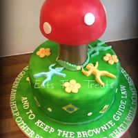 Brownies/girl Guides - The Brownie Toadstool Cake for the Girl Guides/Brownie organisation to celebrate the Big Brownie Birthday. The cake was based on a rug/toadstool which is used...