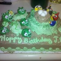 Pigs Going To Steal Eggs My son wanted a angry birds cake for his birthday. This cake is made COMPLETELY FROM SCRATCH icing butter cream, cake white, and the birds/...
