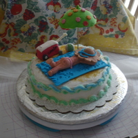 Beach Cake Icing and fondant