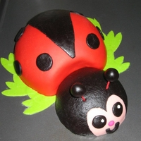 Ladybug Cake Ladybug cake. Head is Gluten Free vanilla, iced in gluten free glaze, decorated in homemade MMF (also gluten free). Body is Pistachio cake...