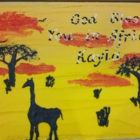Safari wanted an african themed cake and the first thing that came to mind was the paintings you see with the reds, oranges and yellows and the...