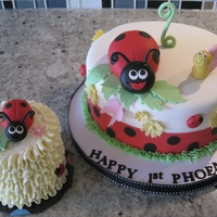 Ladybug Birthday Ladybug themed fondant cake with smaller, buttercream smash cake.