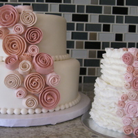 Ribbon Roses And Ruffles 1St Birthday 1st Birthday cake and coordinating smash cake