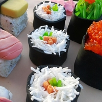 Sushi Birthday Cake Used everything I could find that was edible. Worked out fine in the end. The fish eggs is Sago :o)