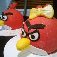 Angry Couple Had to make 2 angry bird cakes and had a lot of red fondant. So I decided to make an angry couple