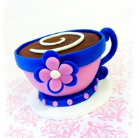 Coffee Cup Cake For a good friends birthday :-)Chocolate cake with fondant accents.TFL!