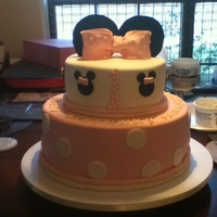 Baby Minnie Top layer is chocolate with cookies n cream buttercream n bottom is vanilla with strawberry buttercream