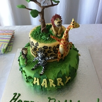 "Jungle Cake A cake I made for my little brothers 2nd birthday, based on his favourite book ""giraffes can't dance"". The little animals..."