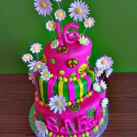 Sweet 16 Psychedelic Topsy Turvy Cake