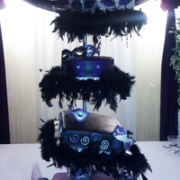 Quince Purple, Black & White Cake With Fondant Masks Hand painted fondant masks