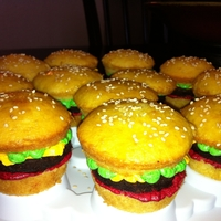 Hamburger Slider Cupcakes All homemade. Yellow cupcakes, brownies, buttercream. Pretty easy and the kids loved them.