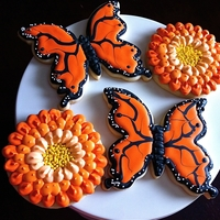 Butterfly And Zinnia Cookies Cookies I made for my Mom for Mother's Day.