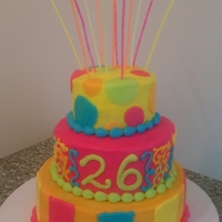 Neon Birthday A cake my sister wanted to surprise her friend with. The top and bottom tiers are chocolate, the middle tier white, with homemade...