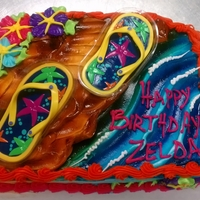 Flip Flops For my boss's granddaughter. Flip flop magnets. On an 1/8th sheet cake, so it looks a little crowded.