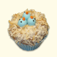 Bird Nest Cupcake   The bird's nest is thickened chocolate buttercream covered in toasted coconut. The birds are fondant.