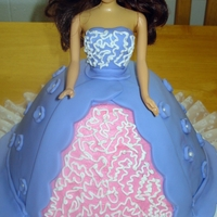 Barbie Cake Vanilla Cake with buttercream and fondant barbie cake for a birthday
