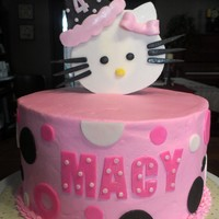 Hello Kitty Cake For A Cute 4 Year Old Girl Triple Chocolate Cake With Chocolate Smbc Filling American Bc Icing Hello Kitty cake for a cute 4 year old girl! Triple chocolate cake with chocolate SMBC filling. American BC icing.