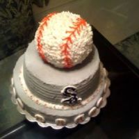 White Sox Birthday Cake 14in base cake, 10 inch, baseball topper. all butter cream. sox logo started to melt