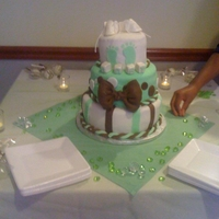Green & Brown Baby Shower Cake