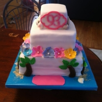 Hawaiian Birthday Cake made this cake for a 93rd birthday, took the pix before completing the name plate
