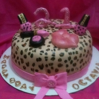 21St Leopard Print Cake Very girly 21st birthday cake. I hand painted the leopard print and hand made the make-up accessories.