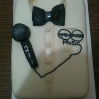 Shirt And Bowtie Cake Shirt and bowtie cake with microphone I did for an music artist who did a James Bond theme music video.