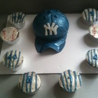 Yankee Hat Cake With Pinstripe, And Baseball Cupcakes