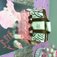Zebra Print Baby Diaper Bag brown and white zebra print with pink Diaper Bag Cake. With fondant baby sneakers and fondant onsie. This was my 1st time doing it, and I...