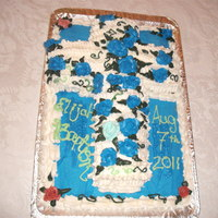 Cross On Sheet Cake Bc Roses Bible Believer's Baptism blue and white cross