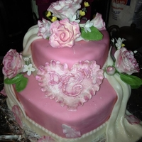 "Hearts And Roses Cake MMF, gum paste flowers, heart cake in 10"" and 6"""