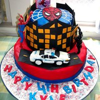 Spiderman Cake   Chocolate cake w/fondant and gumpaste edible figurines