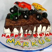 Monster Truck Cake  A wonderful Monster truck cake, with ALL EDIBLE DECORATIONS!! french vanilla cake with strawberry filling covered with fondant and...
